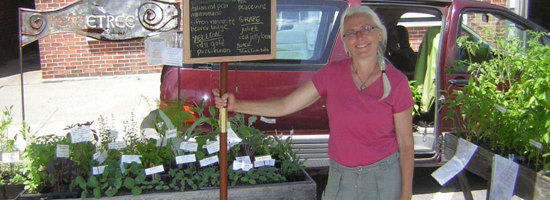 Karin Savio and peacetree plants at the farmers market